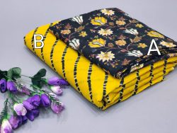 Yellow and Black Pure cotton running fabric