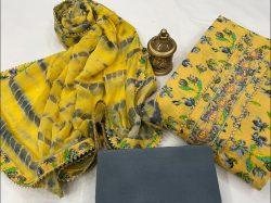 Yellow and slate Gray Hand work cotton embroidery suits price
