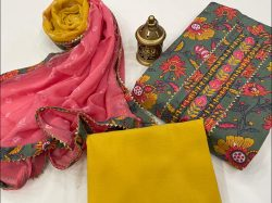 Amber and gray printed cotton embroidery suit with chiffon dupatta
