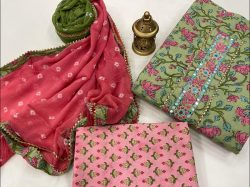 Dull green and Pink embroidered salwar suit dress material