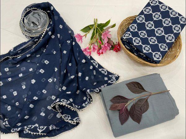 blue Chiffon Border dupatta cotton suit