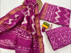 Magenta Pigment print maheshwari silk suit set