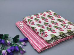 Pink and white floral mugal print pure cotton running material set
