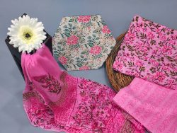 Pink floral print cotton suits with chiffon dupatta