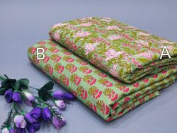 Green floral print pure cotton running material set