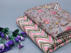 Gray floral Rapid print pure cotton running fabric