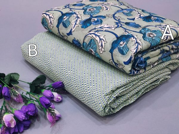 White floral print pure cotton running material set