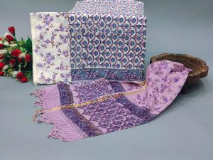 White and Amethyst office wear salwar suits with kota doria dupatta online