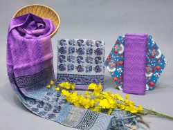 Superiority Blue And Amethyst  cotton suit set with dupatta