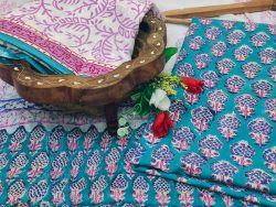 Teal and white  jaipuri cotton suits with chiffon dupatta