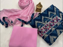 Blue and Pink Cotton printed gota hand work suit set