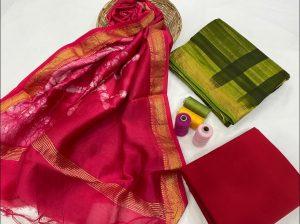 Ruby and green maheshwari silk suit set