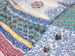 Turquoise And white floral print cotton suits with cotton dupatta