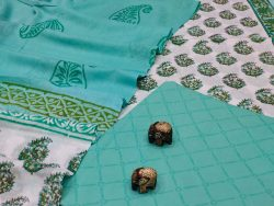 Turquoise And white floral print cotton salwar suit with cotton dupatta