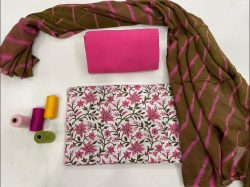 white and rose floral print cotton suits with chiffon dupatta