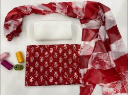 Red and White cotton suits with chiffon dupatta