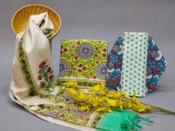 Yellow and white Cotton suit with chanderi cotton dupatta