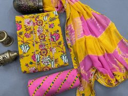 Printed yellow and pink Gota embroidery suit with chiffon dupatta
