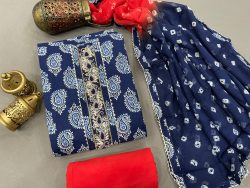 Ultramarine and Scarlet color Gota embroidery suit with chiffon dupatta