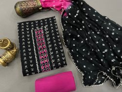 Bandhej print black and Magenta rose color Gota embroidery suit with chiffon dupatta
