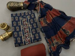 Prussian blue and burgundy color Gota embroidery suit with chiffon dupatta