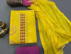 Cotton Yellow purple color Gota embroidery suit with chiffon dupatta