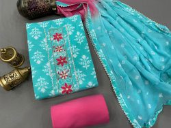 Cyan and Cerise color Gota embroidery suit with chiffon dupatta