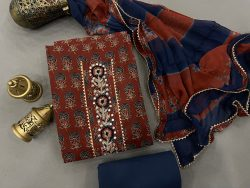 Burgundy and Prussian blue Gota embroidery suit with chiffon dupatta