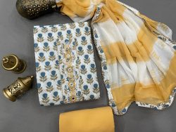 Cotton Yellow and white color Gota embroidery suit with chiffon dupatta
