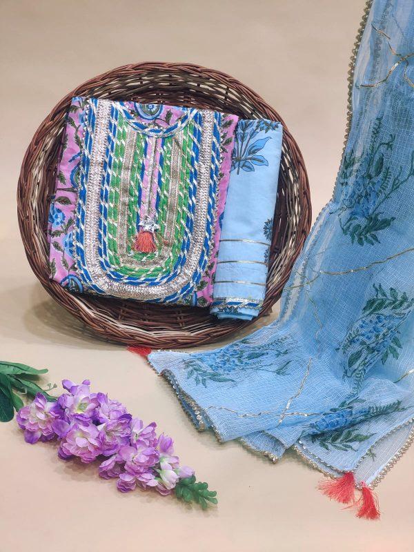 Baby blue Gota embroidery suit with kota doria dupatta