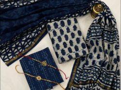 Dark Imperial Blue chanderi silk salwar suit With dupatta designs