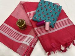 Red color Plain linen saree with separate printed blouse
