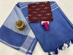 Persian blue color Plain linen saree with separate printed blouse