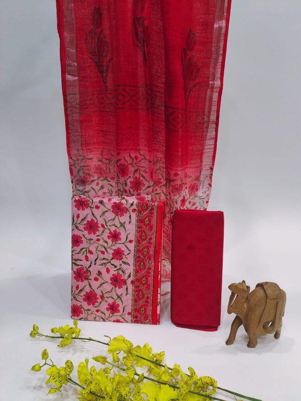 Red Color Cotton Suit With Linen Dupatta