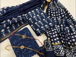 Blue chanderi suit With chanderi silk Dupatta