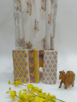 White and yellow Cotton suit with linen dupatta