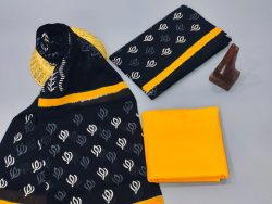 Black and yellow cotton dupatta suits With dupatta