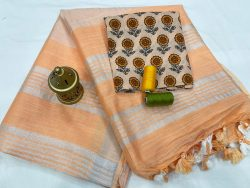 Peach linen saree with printed cotton blouse