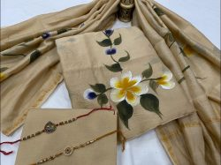 Beige hand painted mugal print Chanderi salwar suits for wedding with price