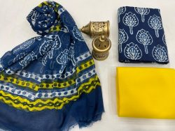 Blue and yellow Cotton suit fabric with chiffon dupatta
