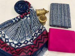 Magenta and blue cotton suits with chiffon dupatta
