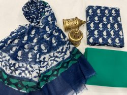Blue and white Cotton suit fabric with chiffon dupatta