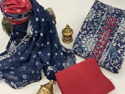 Blue and red embroidery salwar suit piece with chiffon dupatta
