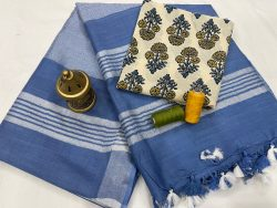 Blue linen saree with printed cotton blouse