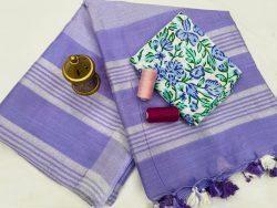 Amethyst Linen saree online shopping