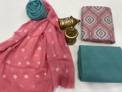 Pink and Acapulco green Cotton suit fabric with chiffon dupatta