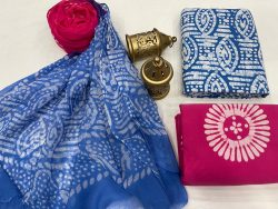 Blue and rose cotton dress materials with chiffon dupatta