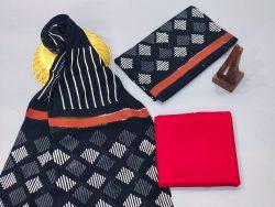 Black and crimson  cotton suits with cotton dupatta