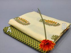 Canary Yellow And dull green Jaipuri cotton running material set