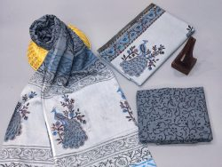 Alice Blue And slate gray cotton dupatta suits With dupatta online